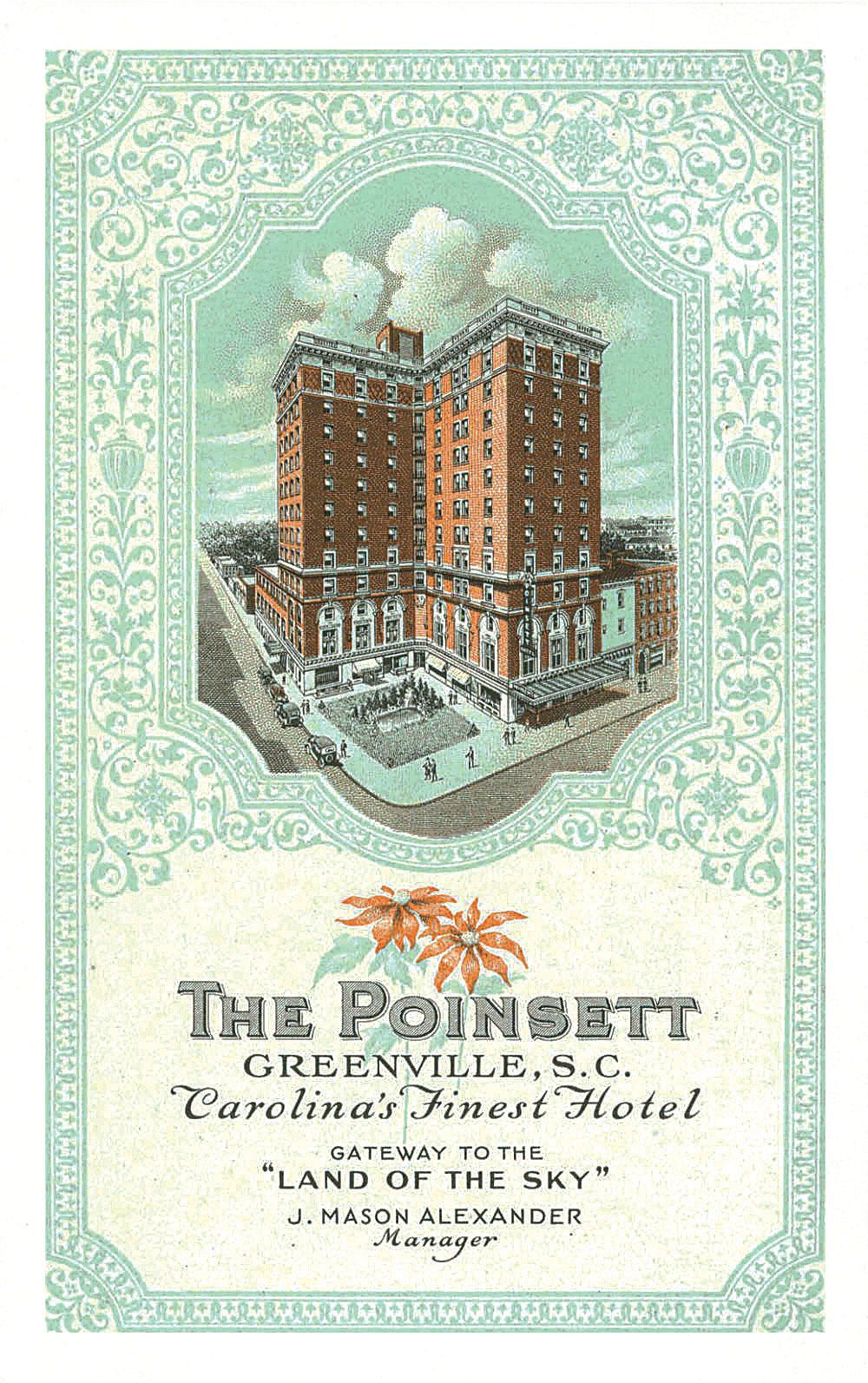 Poinsett Hotel Postcard (circa 1940's)