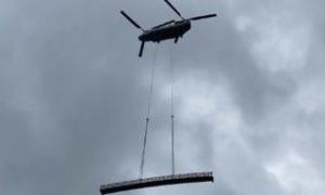 Video: 18,000 pound bridge flown into Lake Conestee Nature Preserve