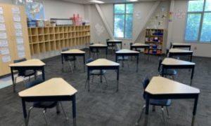 A social distance-spaced classroom