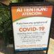 COVID-19 warning at GCS